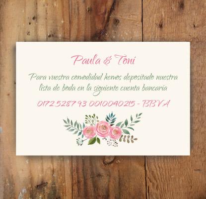 tarjetas numero cuenta boda